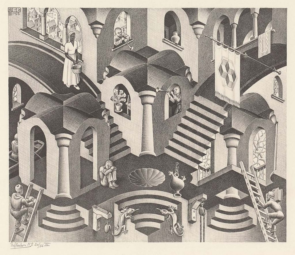 M.C. Escher, Convex and Concave, lithograph, March 1955