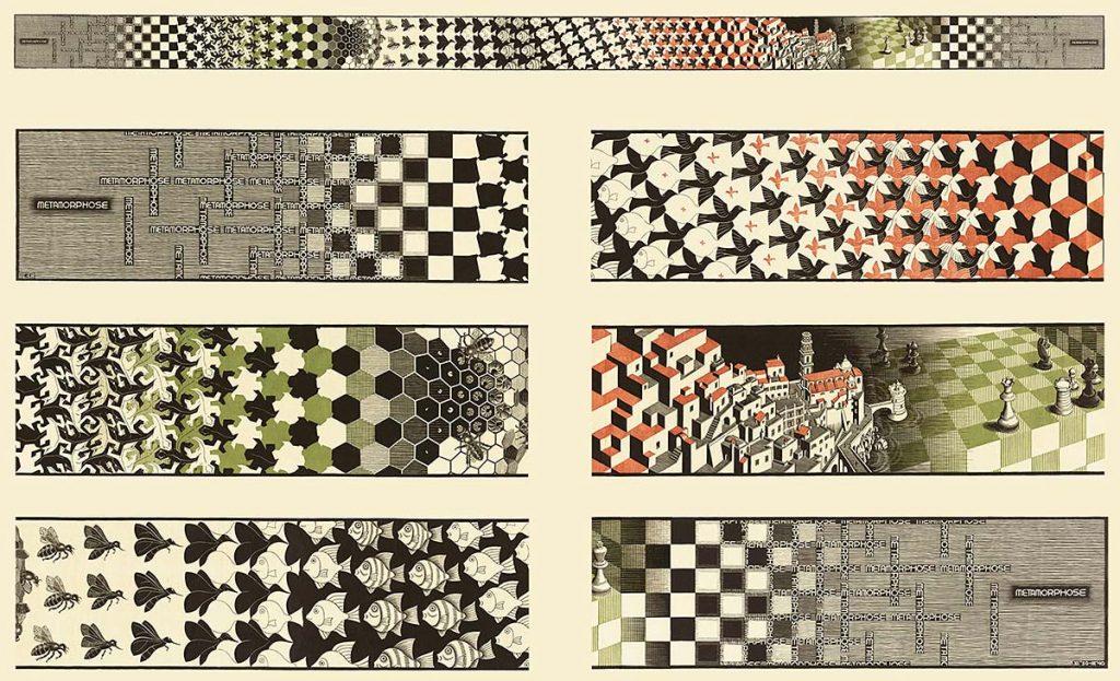 M.C. Escher, Metamorfose II, houtsnede in zwart, groen en bruin, gedrukt van twintig blokken op drie aan elkaar gemonteerde vellen, nov 1939 - maa 1940