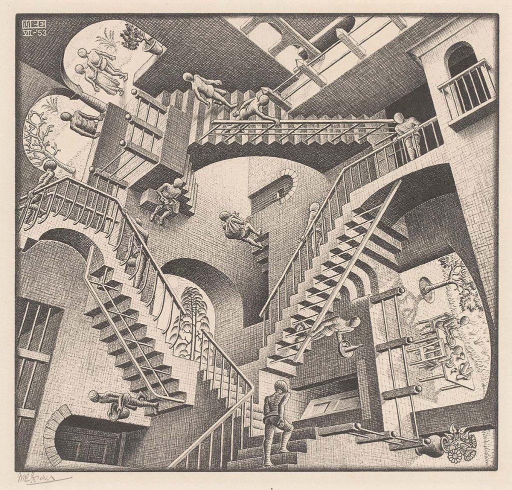 M.C. Escher, Relativity, lithograph, July 1953