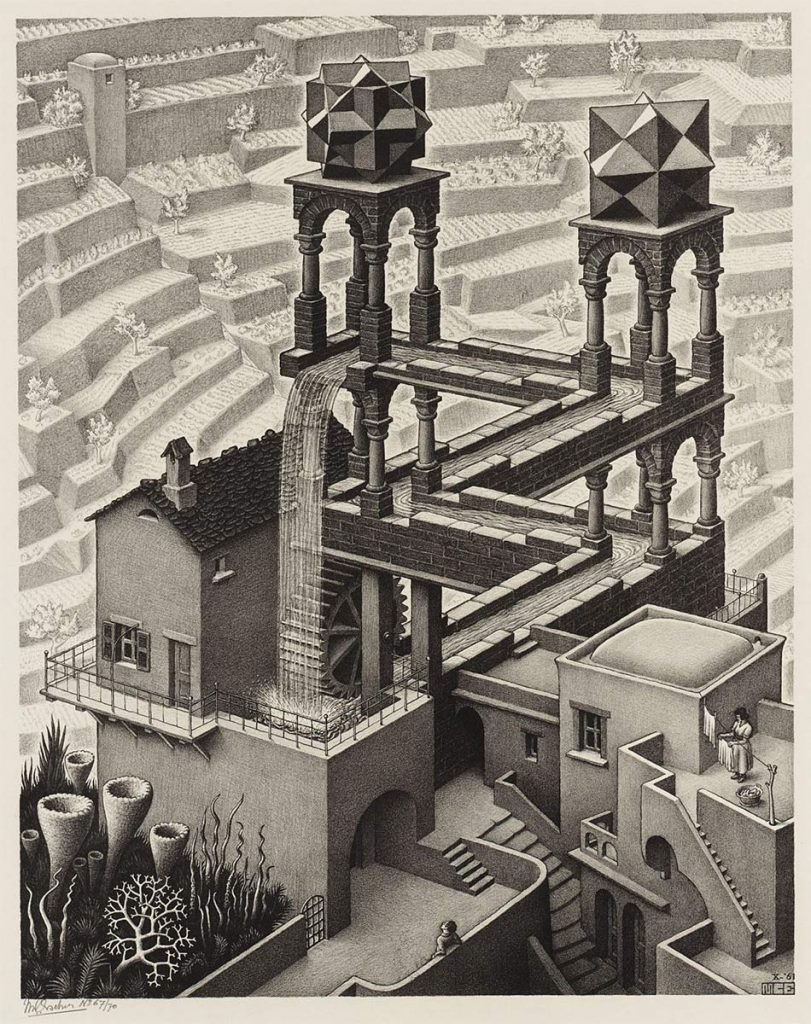M.C. Escher, Waterfall, lithograph, October 1961