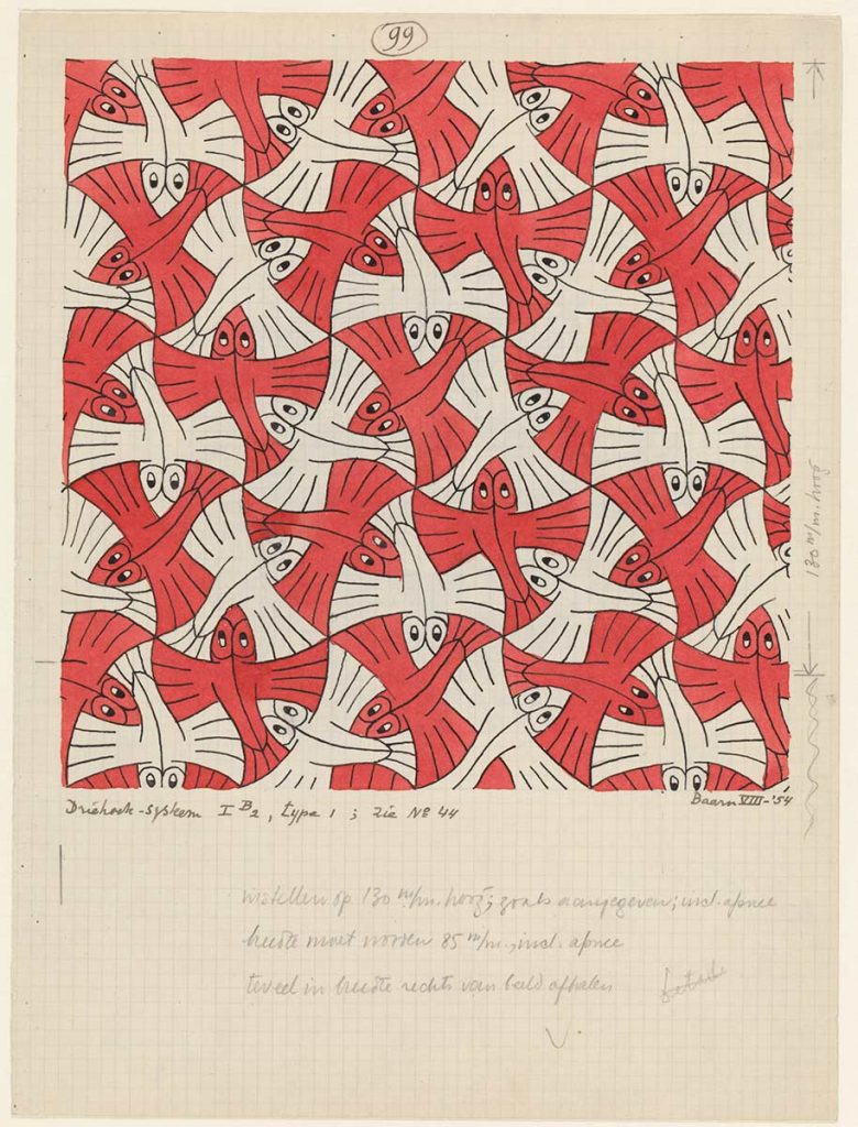 M.C. Escher, Regular Division of the Plane no. 99, India ink, pencil and water colour on paper, August 1954