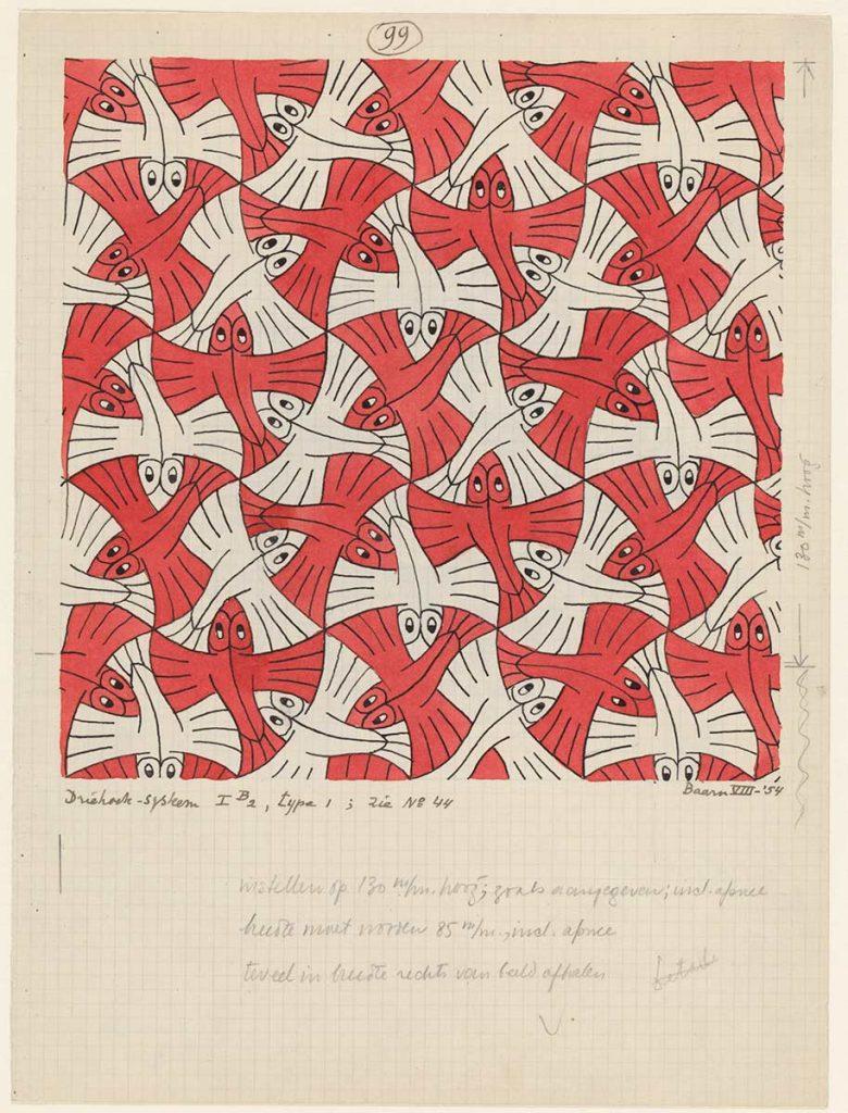 M.C. Escher, Regelmatige vlakverdeling, nr. 99, Oost-indische inkt, potlood en waterverf op papier, augustus 1954