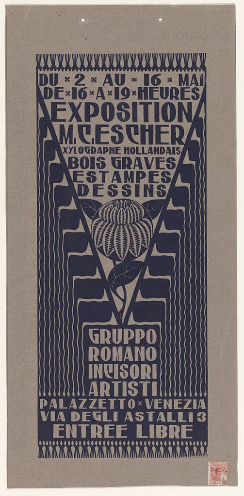 M.C. Escher, Announcement card for Exhibition in Venice, woodcut in blue, printed on grey cardboard, 1926