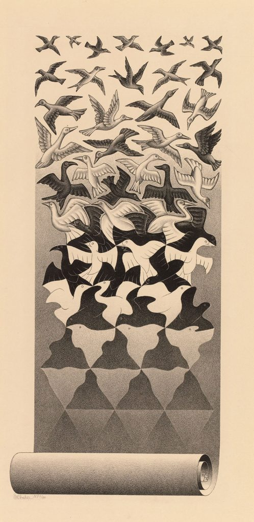 M.C. Escher, Liberation, lithograph, April 1955