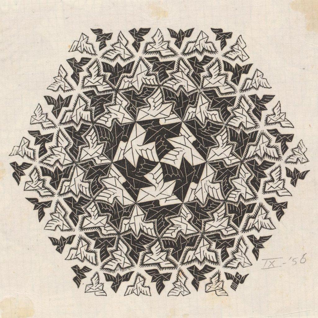 M.C. Escher, Nieuwjaarskaart PTT, houtgravure, september 1956