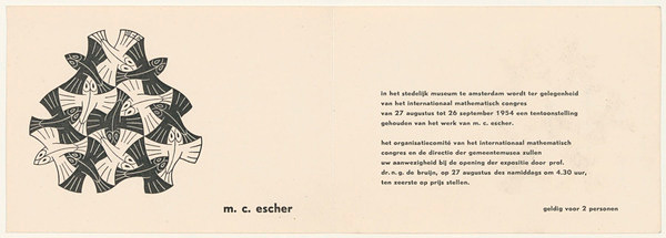 Invitation to the opening of Eschers exhibition in the Stedelijk museum, 1954