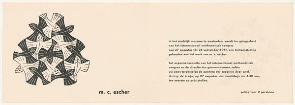 De uitnodiging voor de opening van de tentoonstelling in het Stedelijk Museum, die liep van 27 augustus tot 26 september 1954