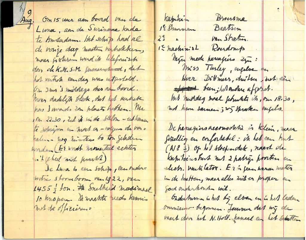 Een pagina met de vertrekdag uit zijn dagboek over de reis met de Luna ('De passagiersaccommodatie is klein, maar gezellig en comfortabel. Ik heb een hut op het sloependek naast de kapiteinshut, met 2 patrijspoorten.')