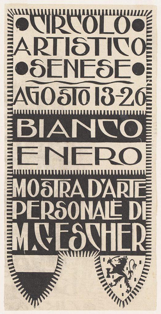 M.C. Escher, Announcement card for exhibition Siena, woodcut, 1923
