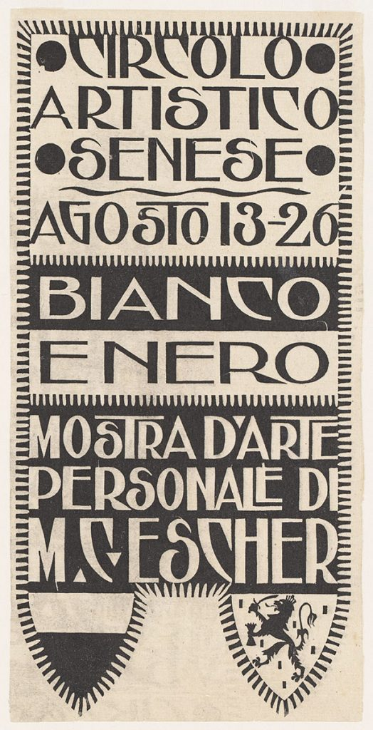 Aankondiging tentoonstelling M.C. Escher, Siena, houtsnede, 1923