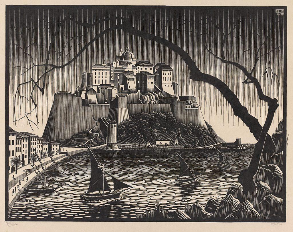 M.C. Escher, Citadel van Calvi, Corsica, houtsnede, oktober 1928