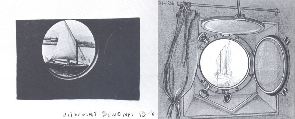 M.C. Escher, photo and drawing of the porthole, 13 May and 21 June 1936