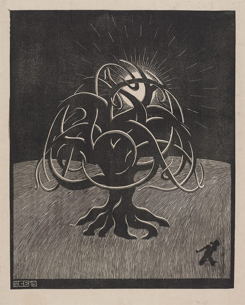 M.C. Escher, Tree, woodcut, 1919