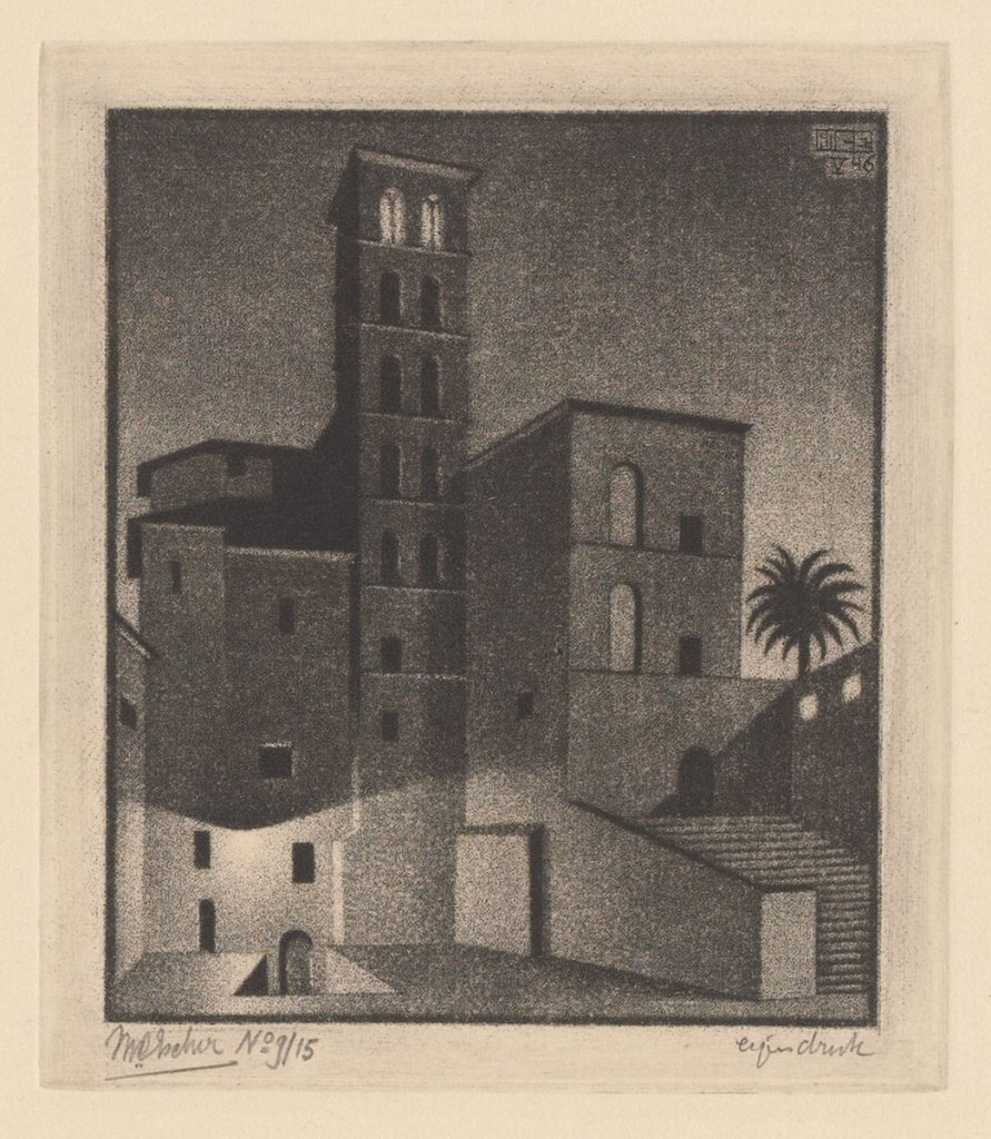 M.C. Escher, Schemering (Rome), mezzotint (tweede staat), mei 1946