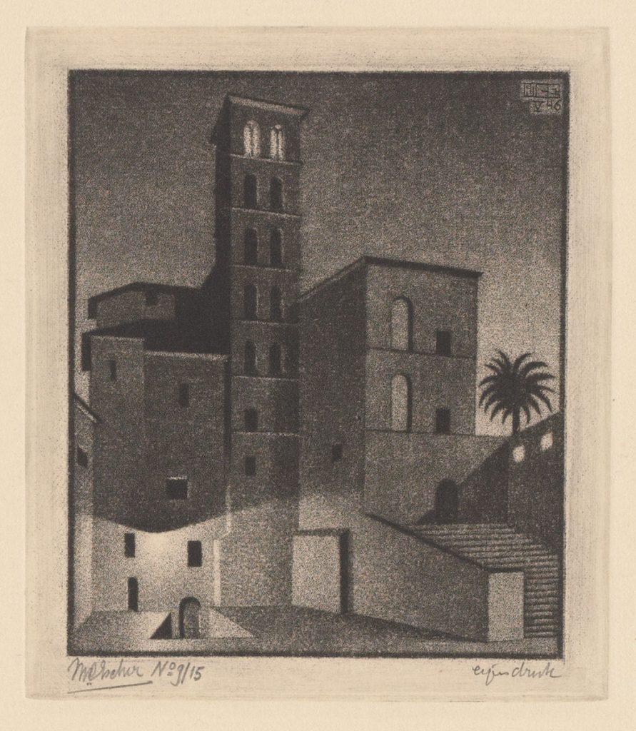 M.C. Escher, Dusk (Rome), mezzotint (second state), May 1946
