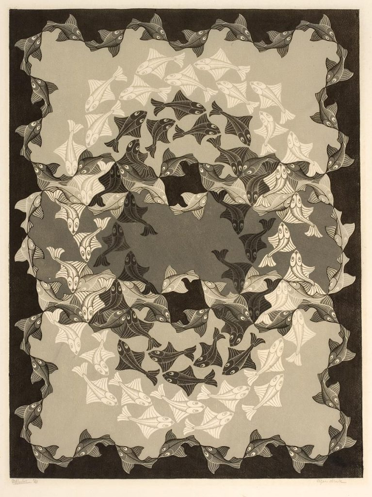 M.C. Escher, Fish, woodcut in three tones of grey-green, printed from three blocks, October 1941