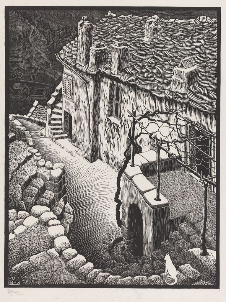 M.C. Escher, Corte, Corsica, woodcut in grey and black, printed from two blocks, January 1929