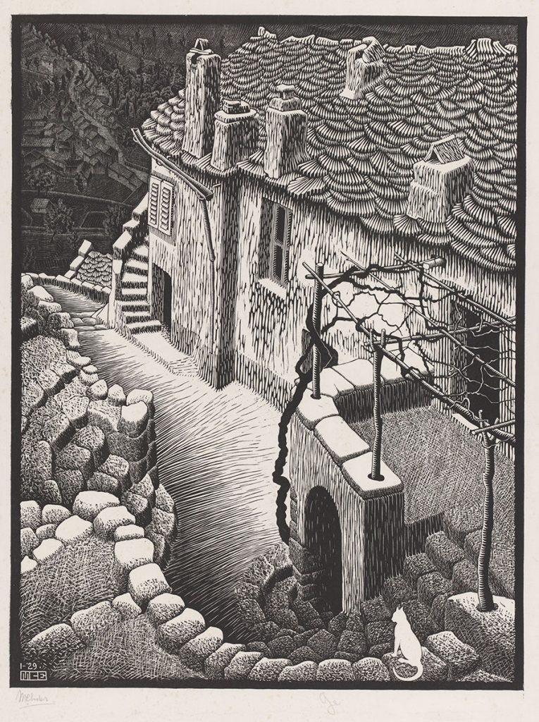 M.C. Escher, Corte, Corsica, houtsnede in grijs en zwart, gedrukt van twee blokken, januari 1929