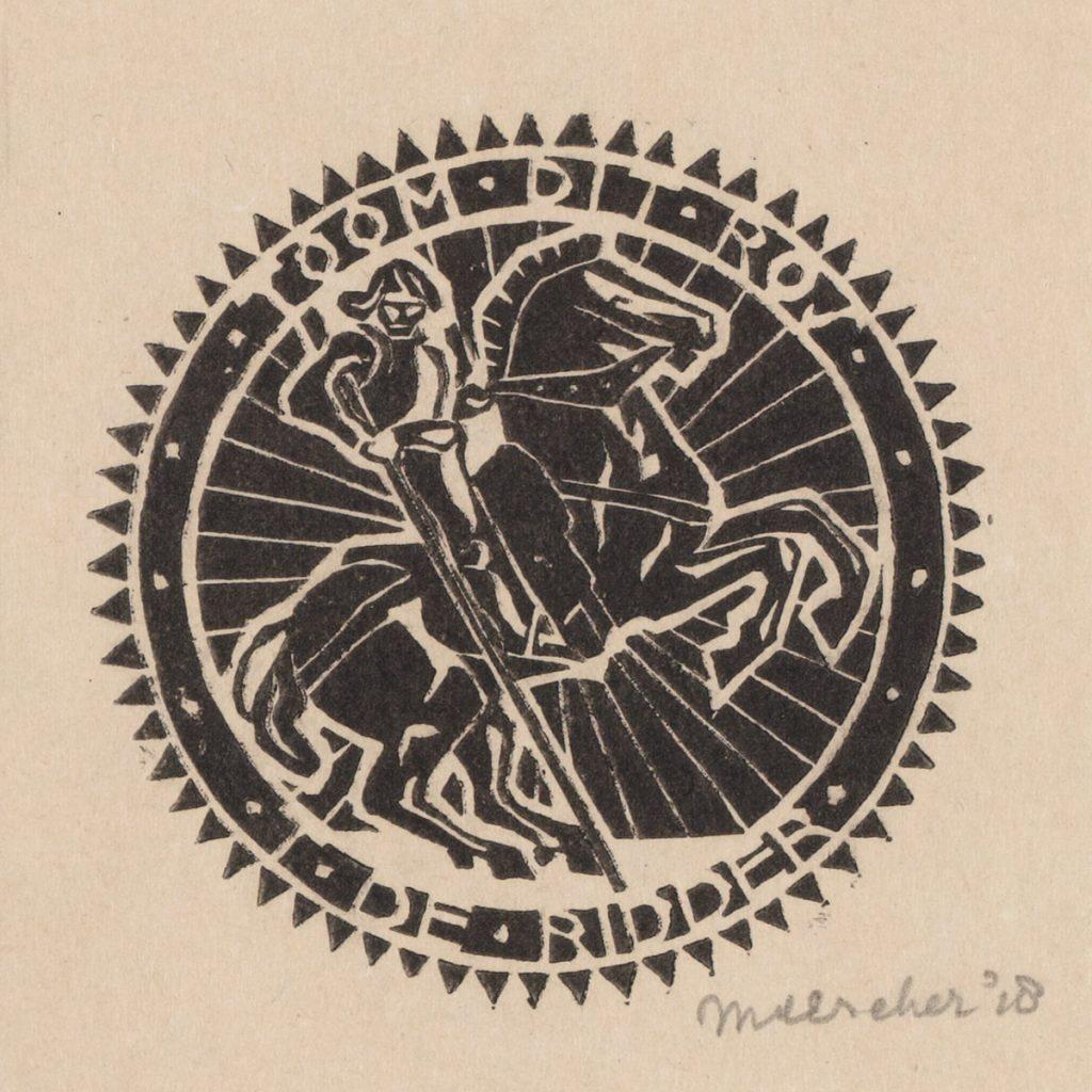 M.C. Escher, ex-libris T. (Tony) de Ridder, linoleumsnede, 1918