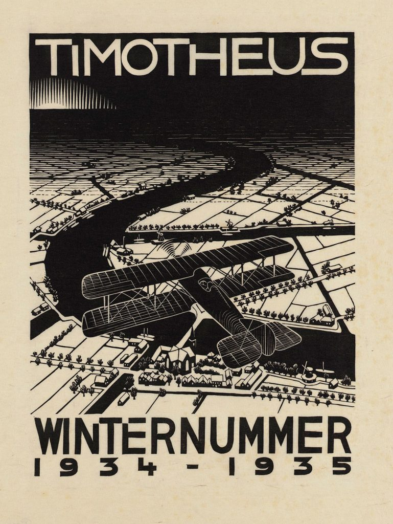 M.C. Escher, Aeroplane above a Snowy Landscape (cover Christian magazine Timotheus, Winter issue 1934-'35), woodcut, October 1934