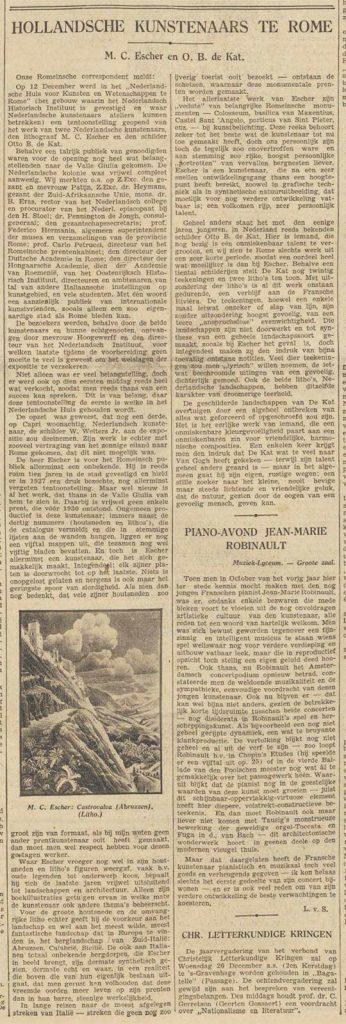 Algemeen Handelsblad, 18 December 1934, article on Escher exhibition in Rome