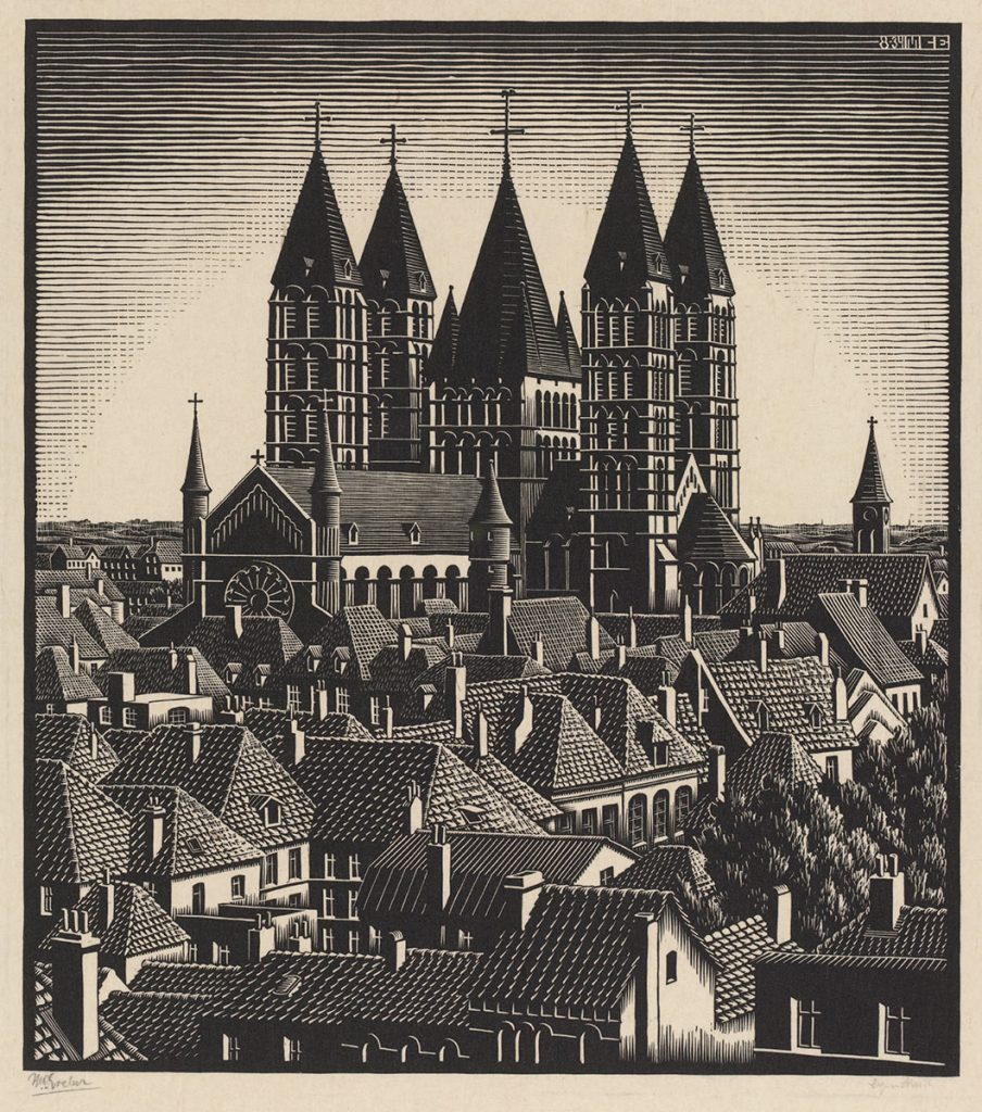 M.C. Escher, Tournai Cathedral, woodcut, August 1934