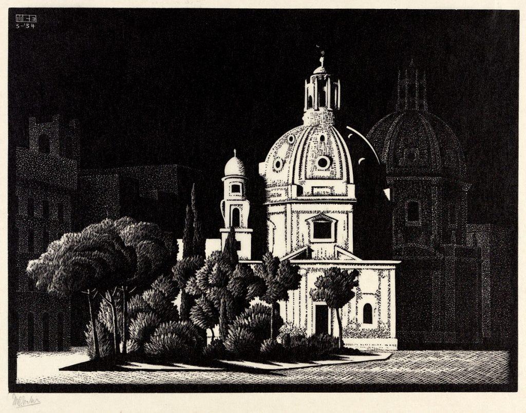 M.C. Escher, Nocturnal Rome: Small Churches, Piazza Venezia, wood engraving, March 1934