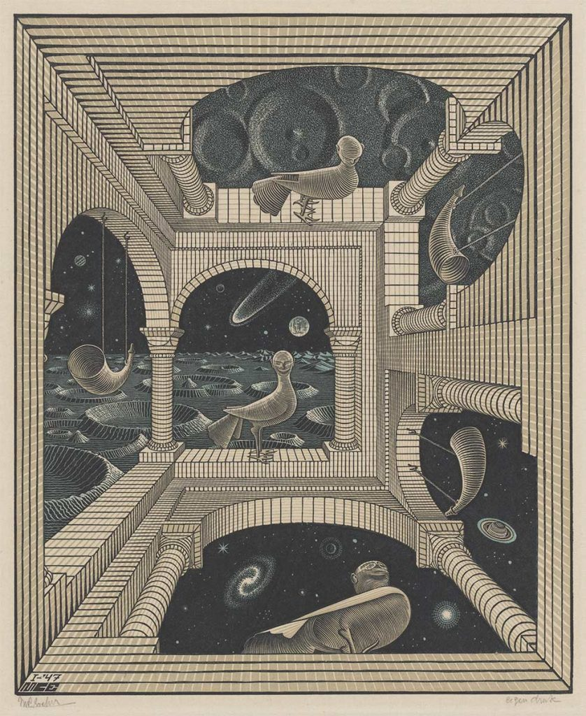 M.C. Escher, Other world, wood engraving and woodcut in black, reddish brown and green, printed from three blocks, January 1947