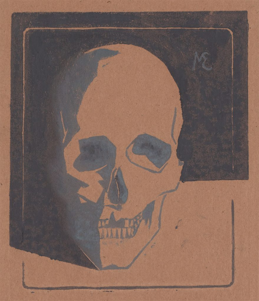M.C. Escher, Skull, linoleum cut in two tones of grey, touched up by hand, January 1917