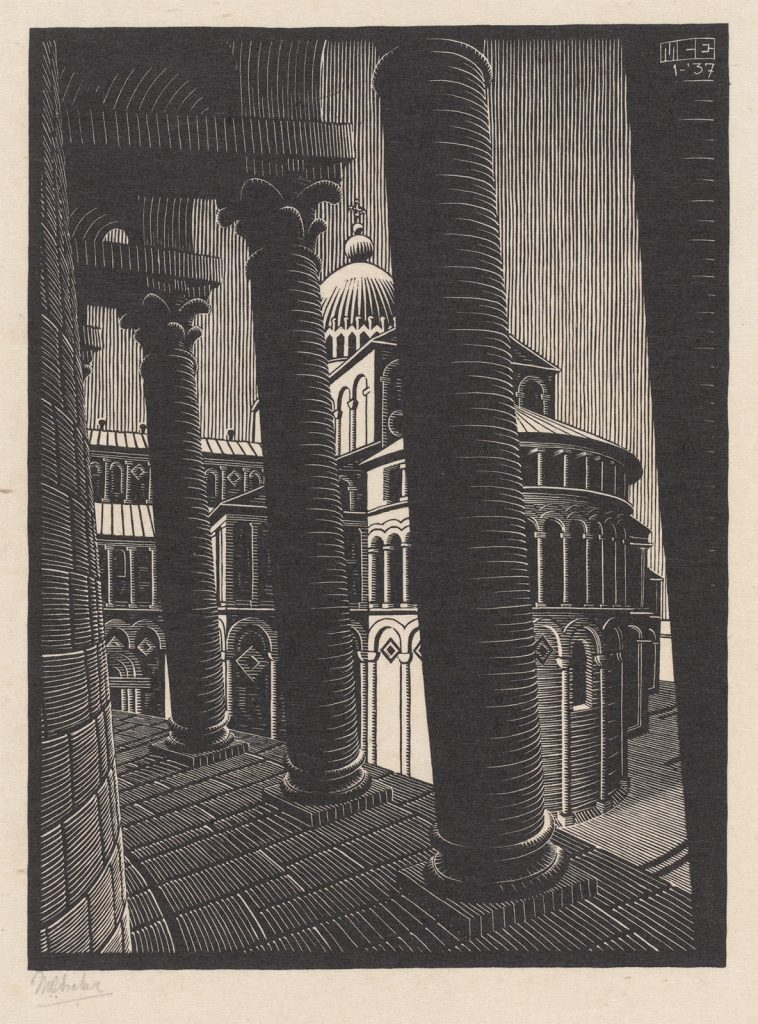 M.C. Escher, Leaning Tower, Pisa, woodcut, January 1937