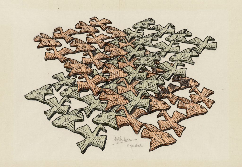 M.C. Escher, Twee snijdende vlakken, houtsnede in groen, bruin en zwart, gedrukt van drie blokken, januari 1952