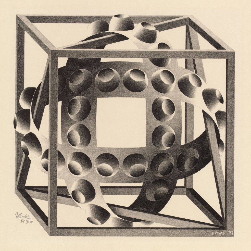 M.C. Escher, Cube with Ribbons, lithograph, February 1957