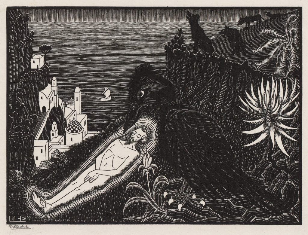M.C. Escher, Saint Vincent, martyr, woodcut, July 1925