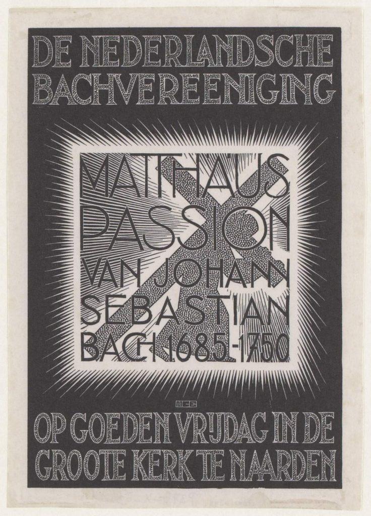 M.C. Escher, Programme St Matthew Passion, woodcut, February 1938
