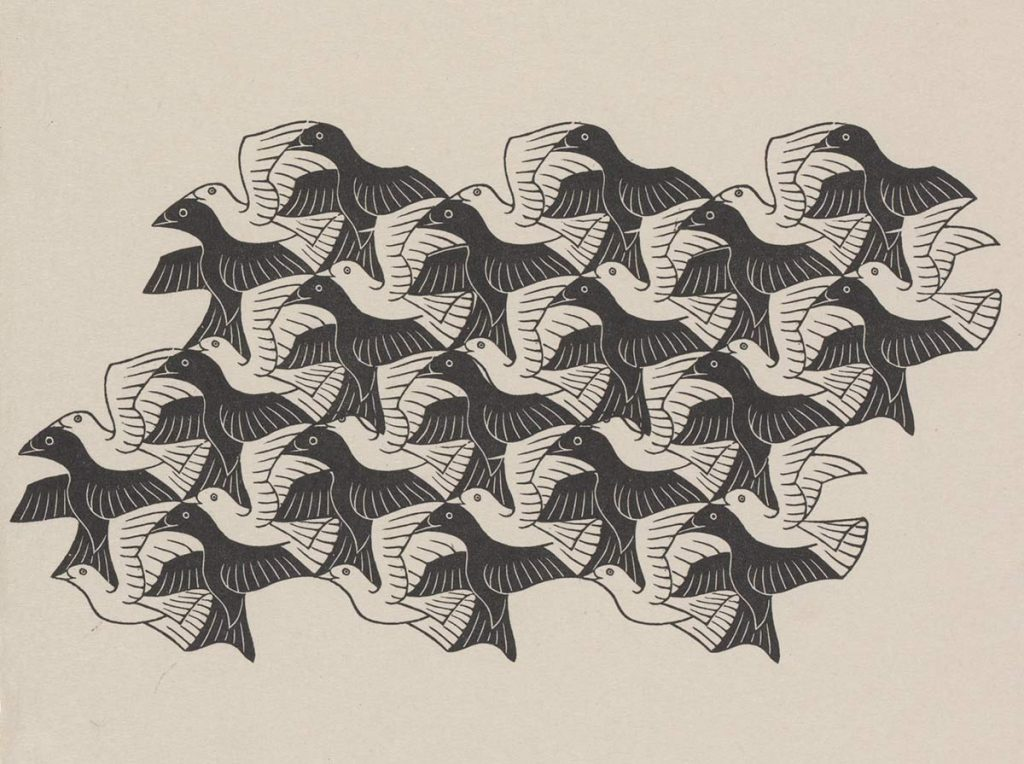 M.C. Escher, Regular Division of the Plane with Birds, wood engraving, April 1949