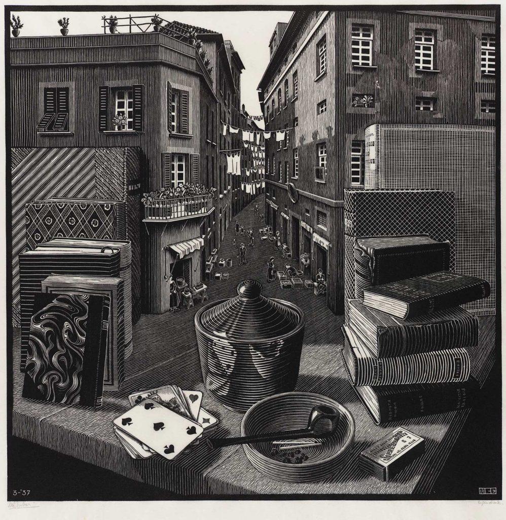 M.C. Escher, Still Life and Street, woodcut, March 1937