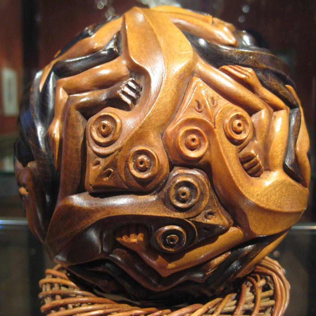 M.C. Escher, Sphere with Lizards, beechwood, 1949. Loan from P.P. Kessler, son of commissioner eng. Paul Kessler
