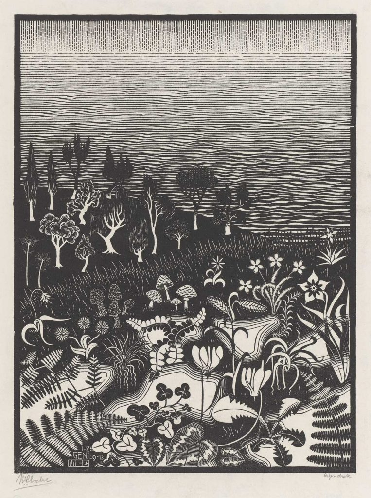 M.C. Escher, The Third Day of the Creation, woodcut, January 1926