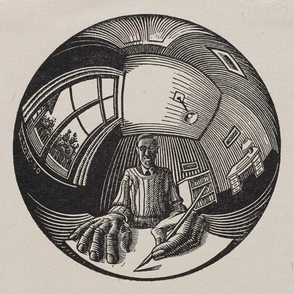 M.C. Escher, Selfportrait in spherical mirror, woodcut, April 1950