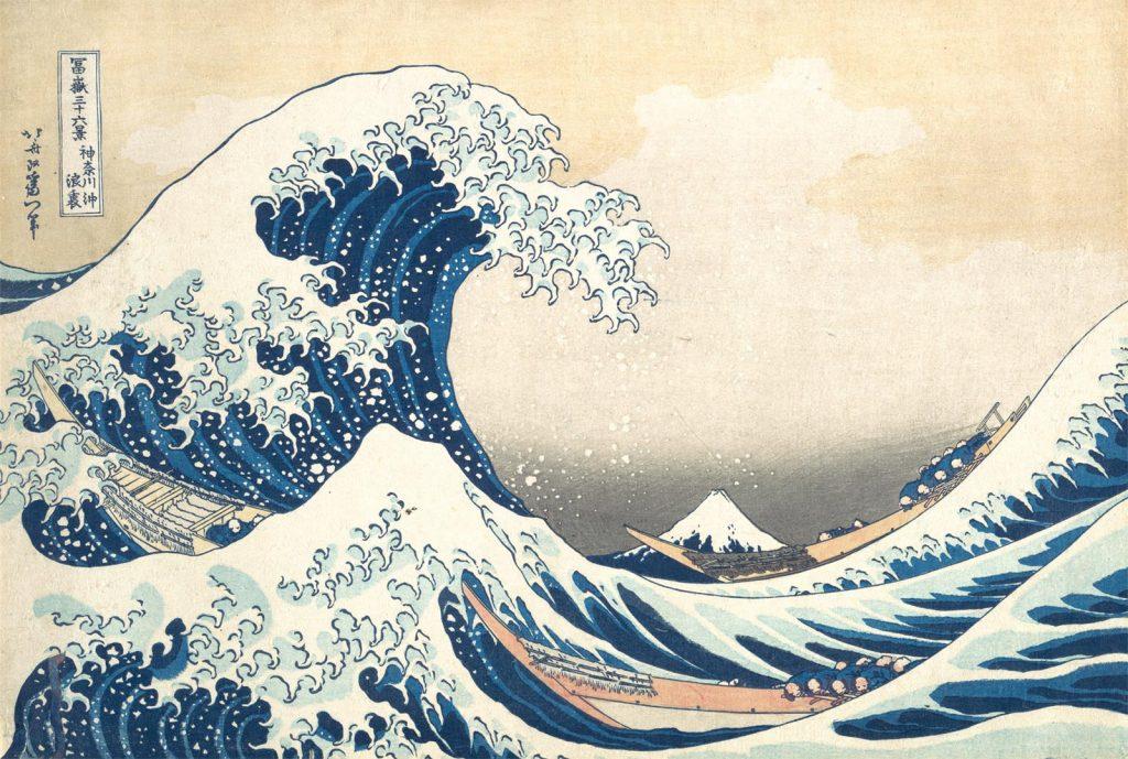 Katsushika Hokusai (1760-1849), 'Onder de golf bij Kanagawa', uit de prentenserie 'Zesendertig gezichten op de berg Fuji' (ca. 1830-1832)