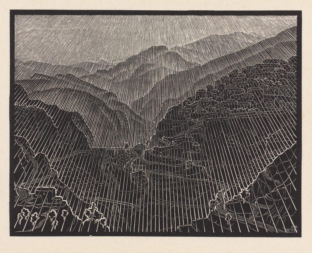 M.C. Escher, Rossano, Calabria, woodcut, February 1931