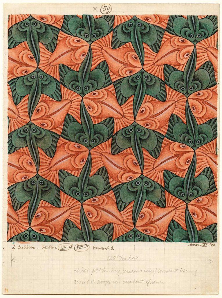 M.C. Escher, Regelmatige vlakverdeling met vissen, nr. 59, november 1942