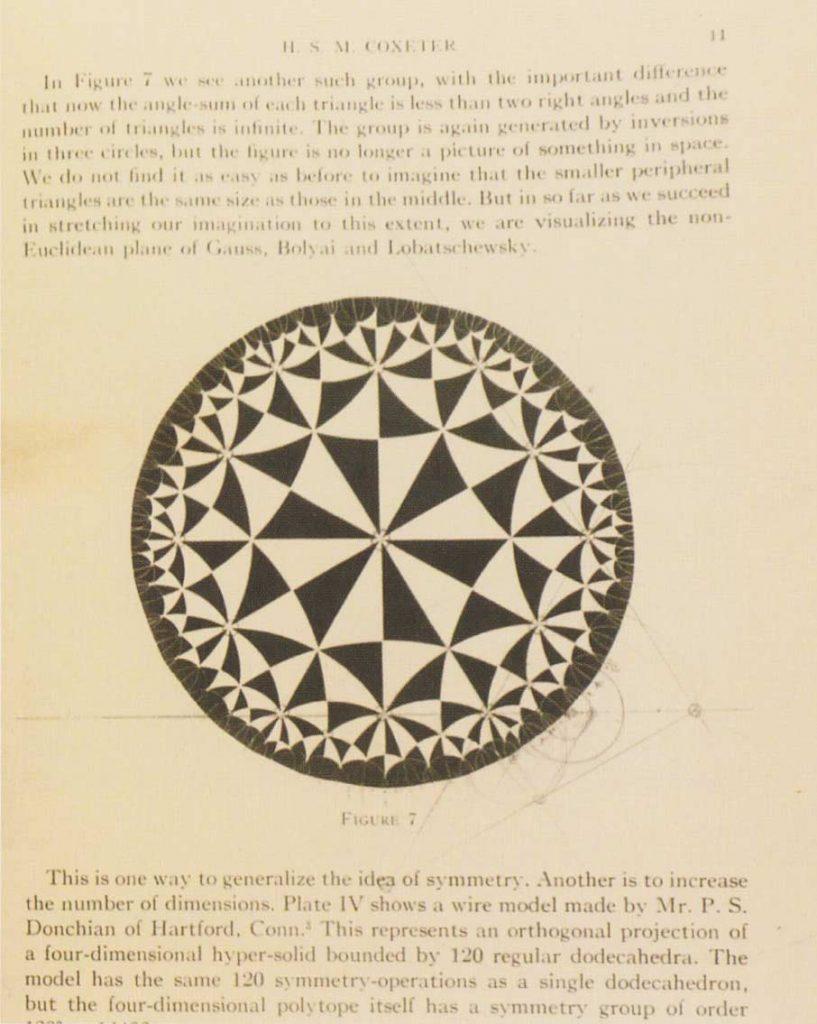 Een pagina uit het artikel van Coxeter met de bewuste afbeelding waarvan Escher zo onder de indruk was. Met potlood, linaal en passer heeft hij geprobeerd het achterliggende schema te construeren.