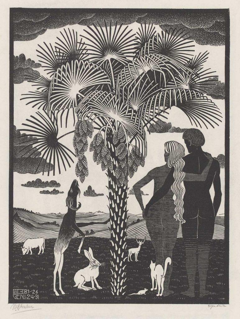 M.C. Escher, De zesde scheppingsdag, houtsnede, maart 1926