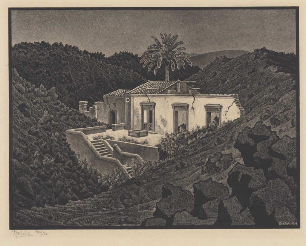 M.C. Escher, Huisje in de lava bij Nunziata, Sicilië, litho, augustus 1936