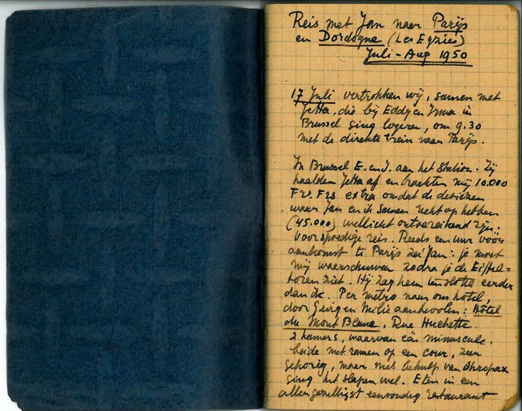 Page 1 from travel diary, 1950