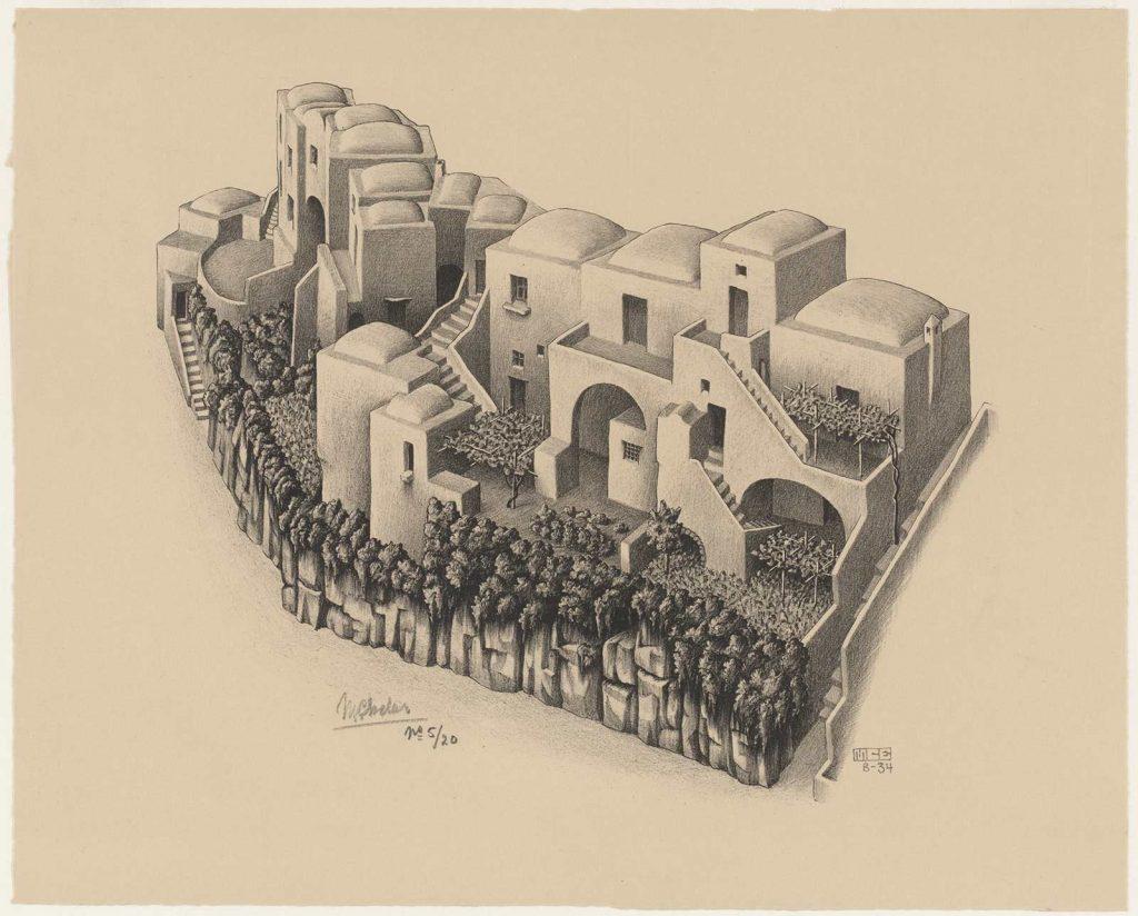M.C. Escher, (Oude) Huisjes in Positano, litho, augustus 1934