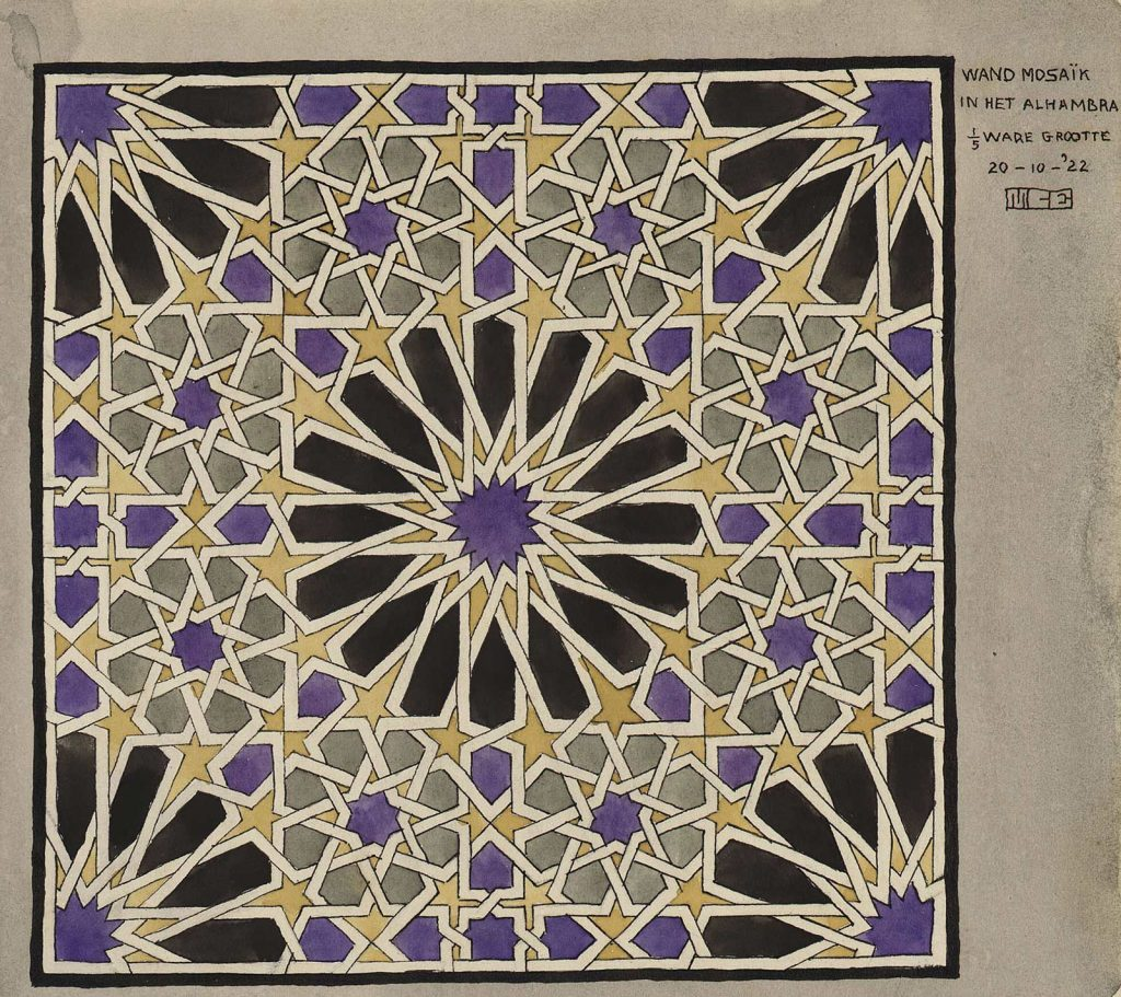 M.C. Escher, Wand mosaïk in het Alhambra 1/5 ware grootte, aquarelverf en inkt op papier, 20 oktober 1922