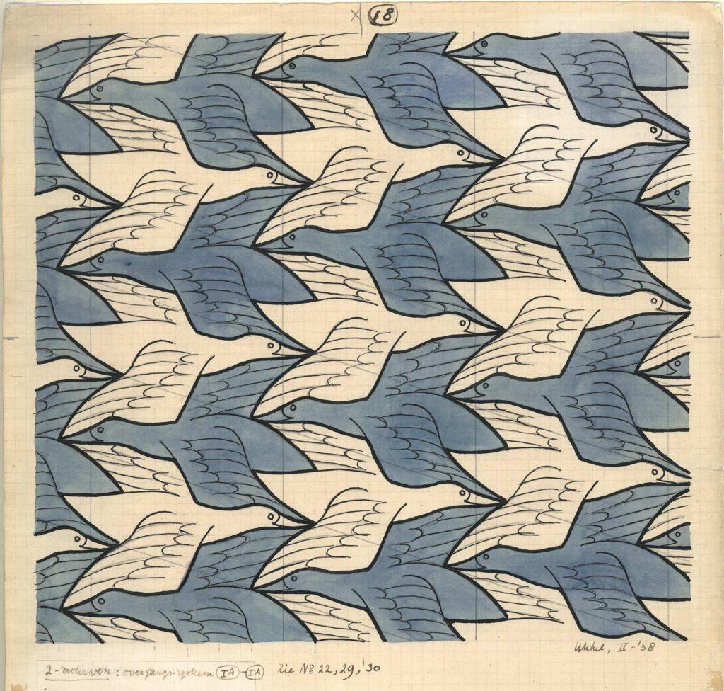 M.C. Escher, Regelmatige vlakverdeling met vogels, nr. 18, Oost-indische inkt, potlood en waterverf op papier, februari 1938