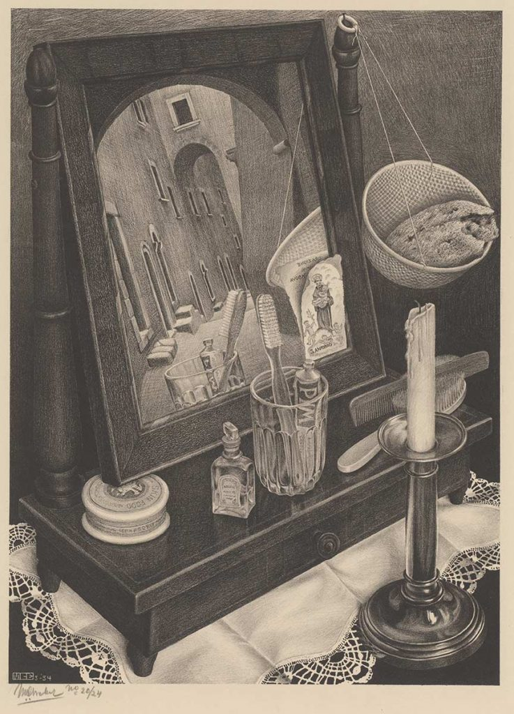 M.C. Escher, Naturaleza muerta con espejo, litografía, 1934